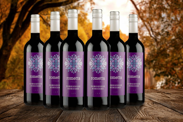 Image of £29.99 instead of £46.50 for six bottles of Rometta sangiovese rubicone Italian red wine 75cl, £52.99 for 12 bottles from Great Wine – save up to 36%