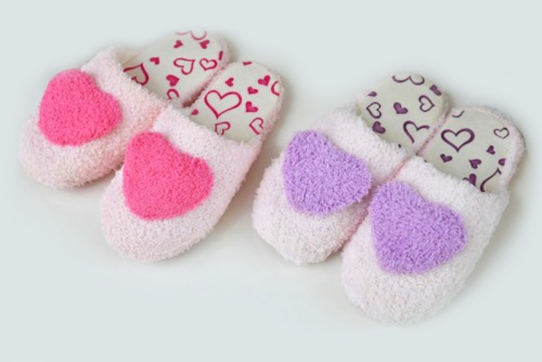 Image of £3.49 for a pair of fluffy heart slippers in UK sizes 3-8 from Evaniy!