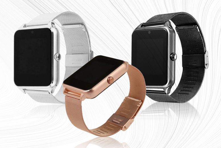Image of £14.99 instead of £30 for a Z60 stainless steel Bluetooth smart watch in a choice of black, silver and gold from Bellap - save 50%