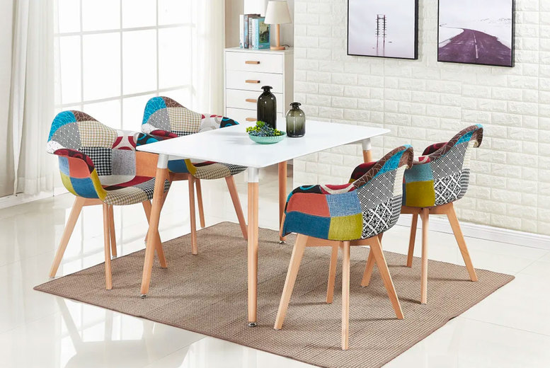 Image of £44.99 instead of £90 for a modern patchwork chair without arms or £59 for a patchwork chair with arms from Home Design International - save up to 50%
