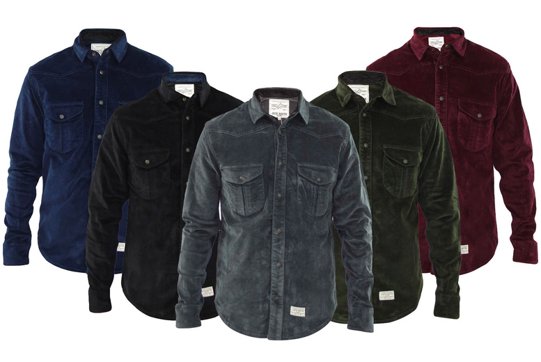 Image of £11 for a men's denim look shirt in black, green, grey, navy or wine from True Face