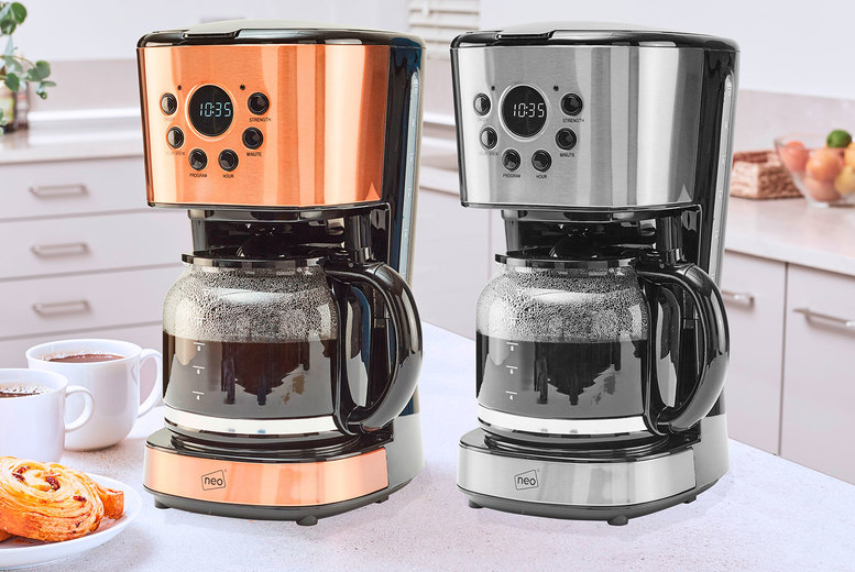 Image of £29.99 instead of £79.99 for a filter coffee maker machine in silver or copper from Neo Deals - save 63%