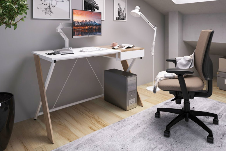 Image of £159 instead of £799 for a white and oak Sidwell computer desk from Envisage Home - save 80%