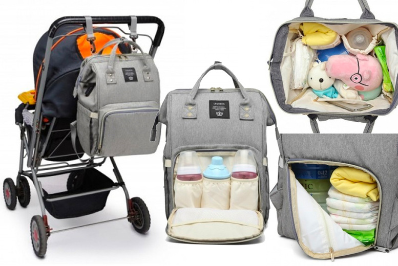 Image of £14.99 instead of £69.99 for a USB nappy changing bag in black or grey from Bear Called Bob - save 79%