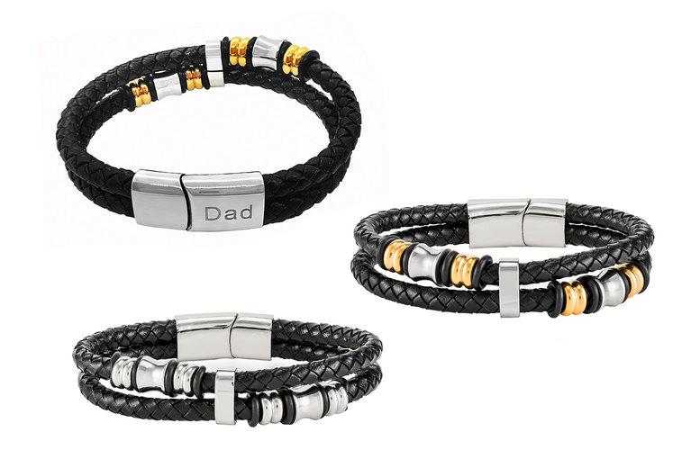 Image of £11.99 for a men's genuine leather bracelet from Gemnations