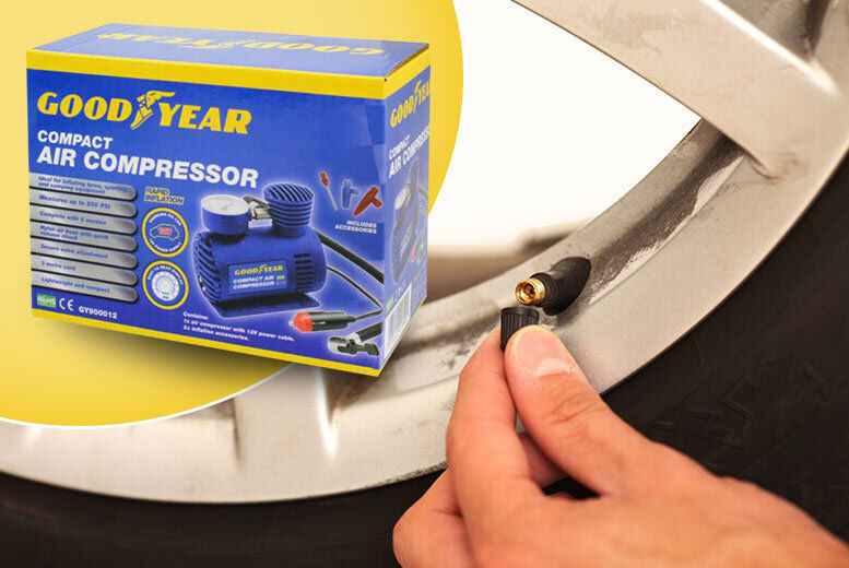 Image of £14.99 instead of £29.99 for a compact mini air compressor from ViVo Technologies - save 50%