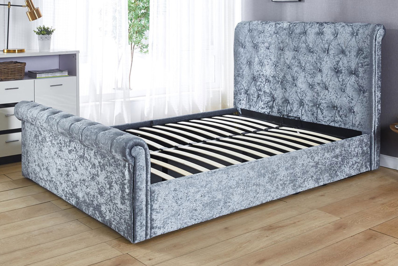 Image of From £245 for a crushed velvet ottoman bed frame - choose from small double, double or king sizes!
