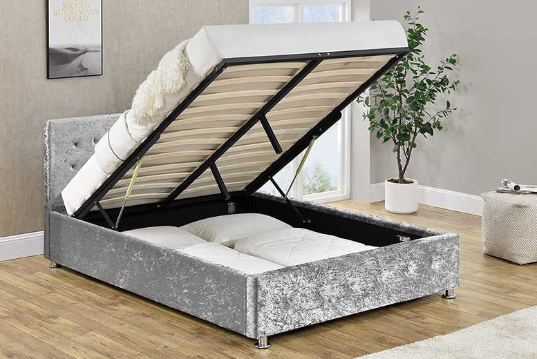 Image of £215 instead of £349 for a king size silver crushed velvet ottoman bed or from £399 for a ottoman bed and mattress from Modish Furnishing - save up to 38%