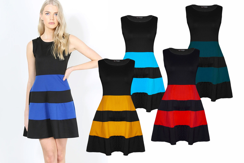 Image of £11.49 instead of £15 for a women's colour block skater dress from Be Jealous – save 23%