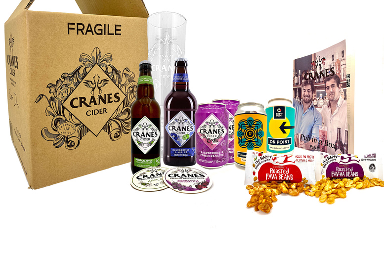 Image of £17.99 for a small 'Pub In A Box' from Cranes Drinks including six cider and beer drinks, a branded pint glass, coasters, snacks and a pub quiz leaflet, or £25.99 for a large box including nine drinks - cheers!