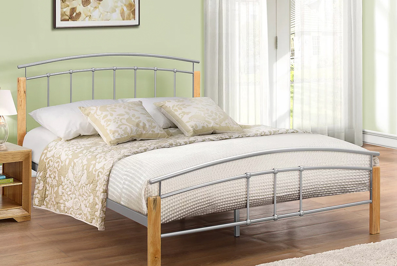 Image of From £119 for a curved beech and silver-tone bed frame from FTA Furnishing - choose your size and optional mattress to save up to 60%