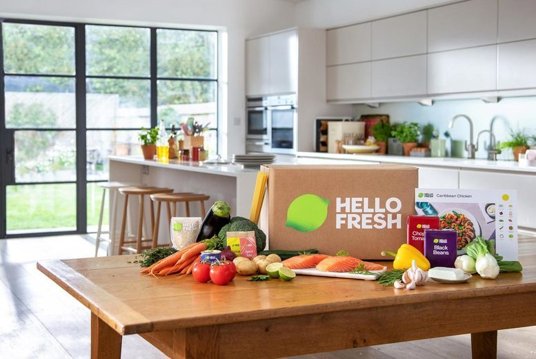 Image of £28 instead of £59.98 for a two-week HelloFresh subscription receiving three dishes each week for two people, £59 for a four-week subscription for two people, or £119 to upgrade to a four-week subscription receiving four dishes each week for four people