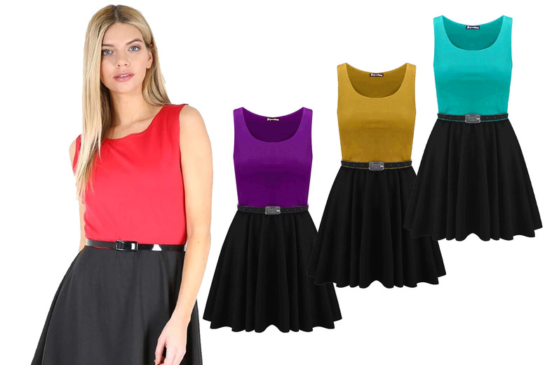Image of £11 instead of £15 for a women's colour block skater dress in jade green, mustard, navy, stone, teal, turquoise or white and UK sizes 8-26 from Be Jealous - save 27%