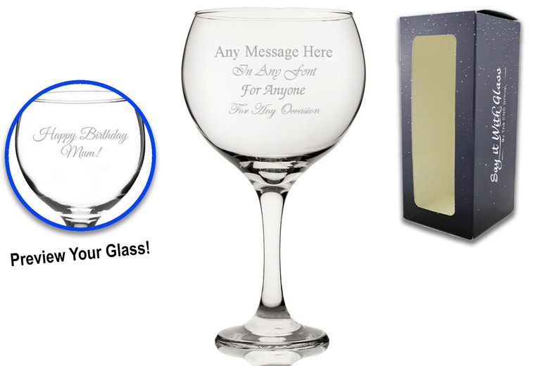 Image of £5.99 for a personalised engraved 22.5oz gin balloon glass with gift box from All Things Personalised