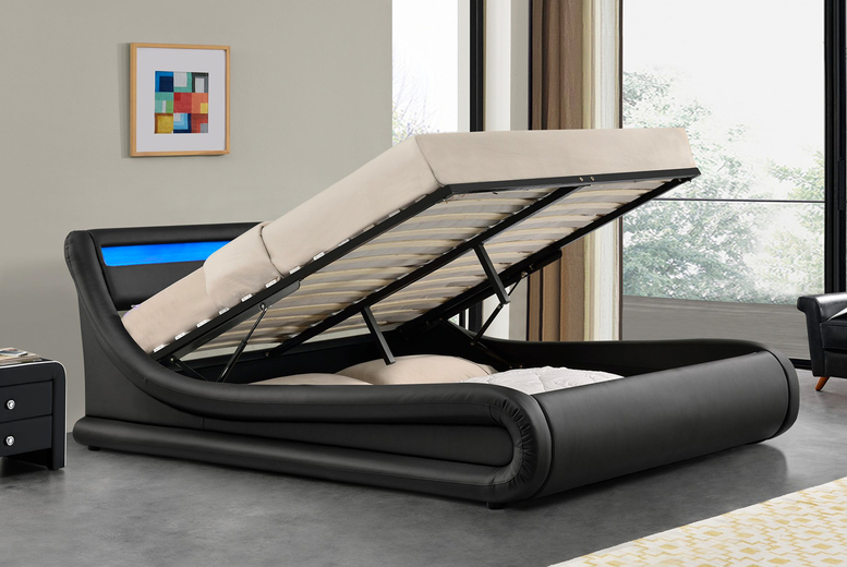 Image of From £275 for a black Madrid ottoman storage bed frame with LED lights or from £429 for a bed frame and mattress in double or king sizes from Modish Furnishing - save up to 45%