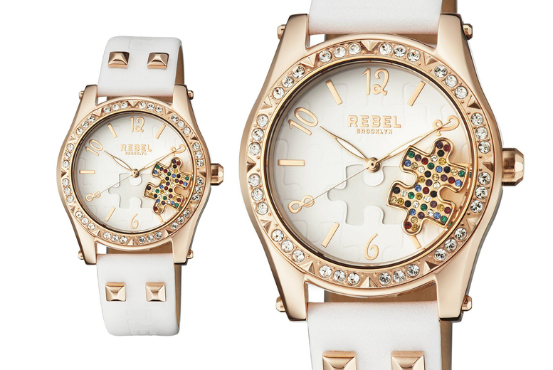 Image of £139 instead of £272 for a Rebel Gravesend ladies white and gold crystal watch with puzzle piece detail from Rebel Brooklyn! - Save 49%