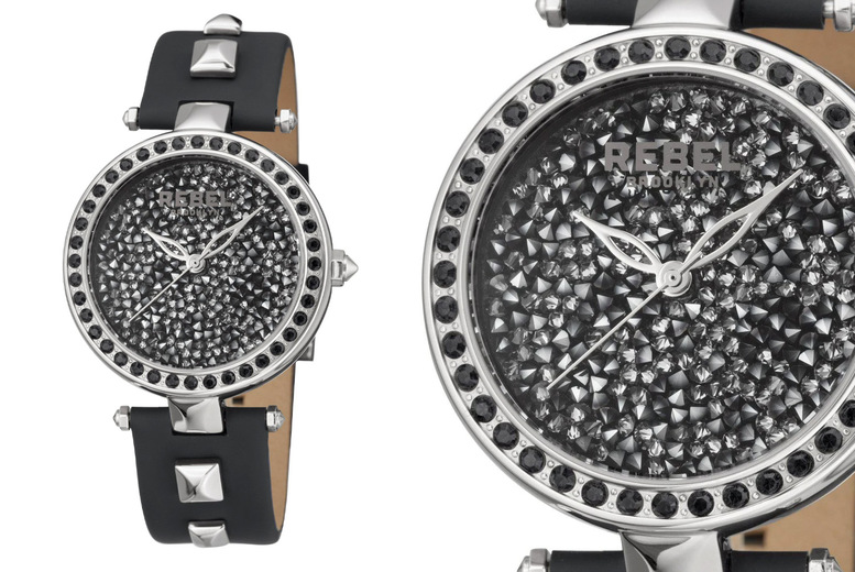 Image of £109 instead of £214 for a Rebel Rockaway Parkway ladies black and silver crystal encrusted watch from Rebel Brooklyn! - Save 49%
