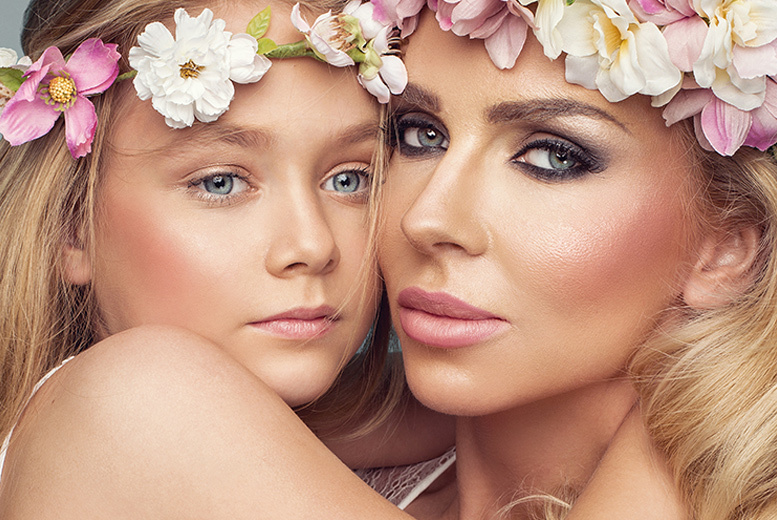 Image of £9 instead of £79.99 for a mother and daughter makeover photoshoot at Flawless Photography Studios including MAC product makeover, a digital image, Prosecco, a £50 gift voucher and chocolates for mum - choose from three locations and save 89%