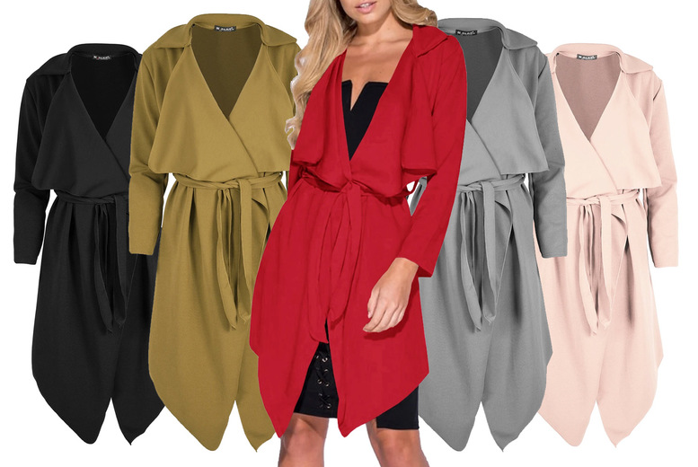 Image of £11.99 instead of £18 for a women's waterfall belted jacket from Be Jealous – save 33%