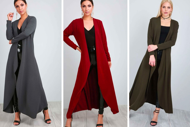 Image of £11.99 instead of £16 for a women's waterfall maxi cardigan from Be Jealous - save 25%