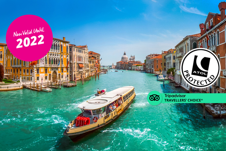 Image of A 4* Venice, Italy hotel stay with breakfast and return flights from eight airports. From £129pp for two nights, from £169pp for three nights, or from £199pp for four nights - save up to 27%