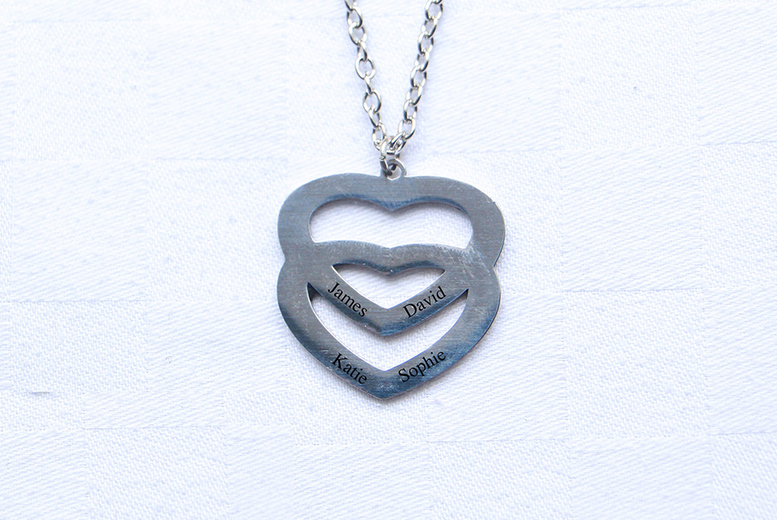Image of £9.99 instead of £39.99 for a personalised double love heart necklace from My Name Chain - save 75%