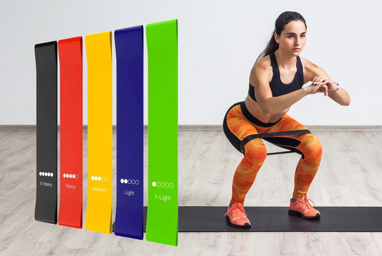 Image of £5.99 instead of £14.99 for a set of five resistance bands, £10.99 for two sets of five from Monster Packaging - save up to 60%