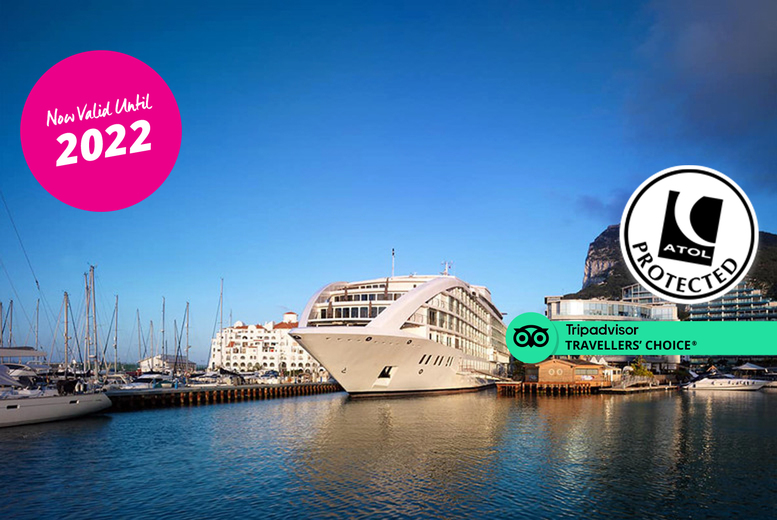 Image of A 5* Gibraltar yacht hotel stay with breakfast and return flights from four airports. From £169pp for two nights, from £279pp for three nights, from £429pp for four nights, or from £529pp for five nights - save up to 34%