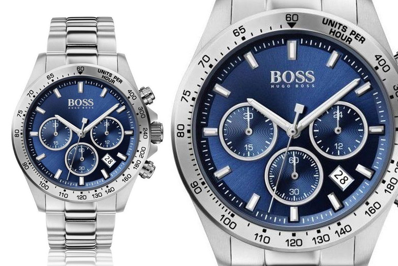 Image of £149 instead of £499.99 for a men's silver and blue Hugo Boss HB1513755 sport lux stainless steel watch from Demand Tic - save 70%