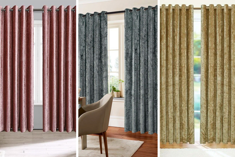 Image of From £19.99 for pair of crushed velvet curtains from Home Decoration World!