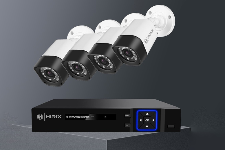 Image of £119 instead of £290 for a pack of four 1080P AHD kit CCTV with 500GB HDD from Hirix - save 59%