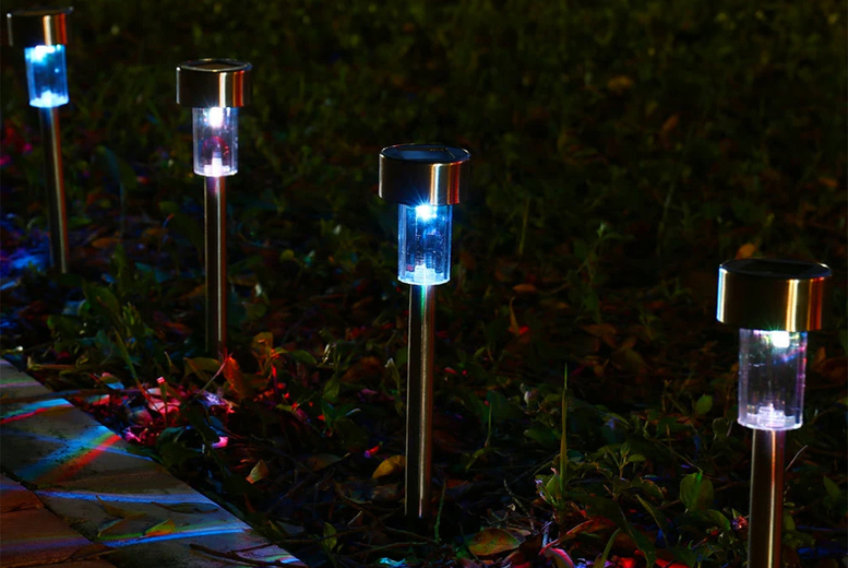Image of £12.99 instead of £34.99 for five solar-powered garden stake lights in yellow, white or multicolour from Vendin Plus - save 63%