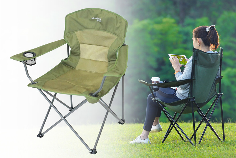 Image of £11.99 instead of £35.99 for a folding camping chair in green from Direct2Publik - save 67%