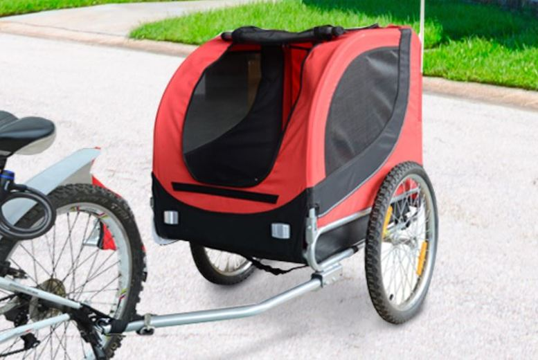 Image of From £74.99 for a foldable bicycle pet trailer with removeable cover from Mhstar Uk Ltd - save up to 46%