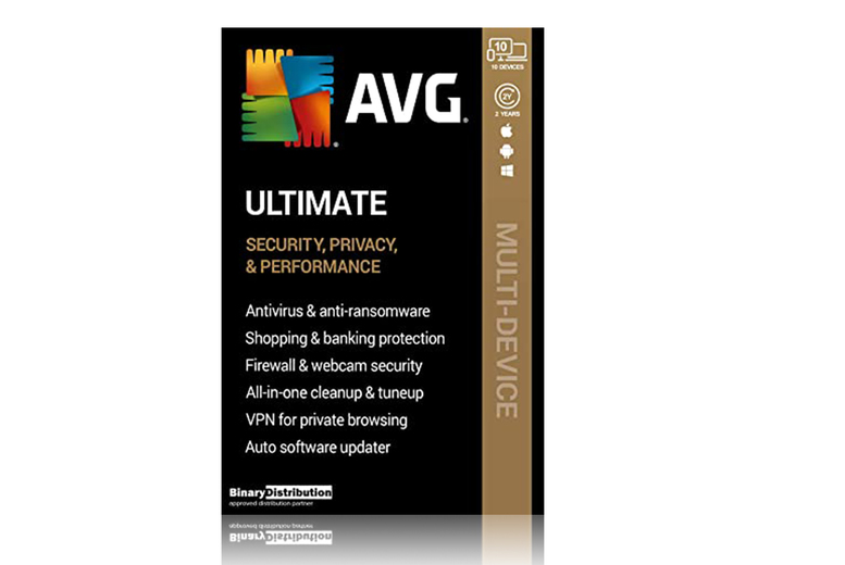 Image of £19.99 instead of £59.99 for a one-year subscription to AVG Ultimate 2021 with AntiTrack for up to 10 devices, £34.99 for a two-year subscription from Download Buyer - save up to 67%