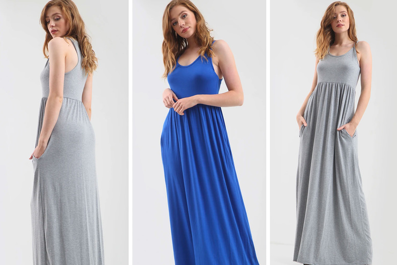 Image of £11 instead of £17 for a jersey sleeveless maxi dress with pockets in UK sizes 8-26 and eight colours - save 35%