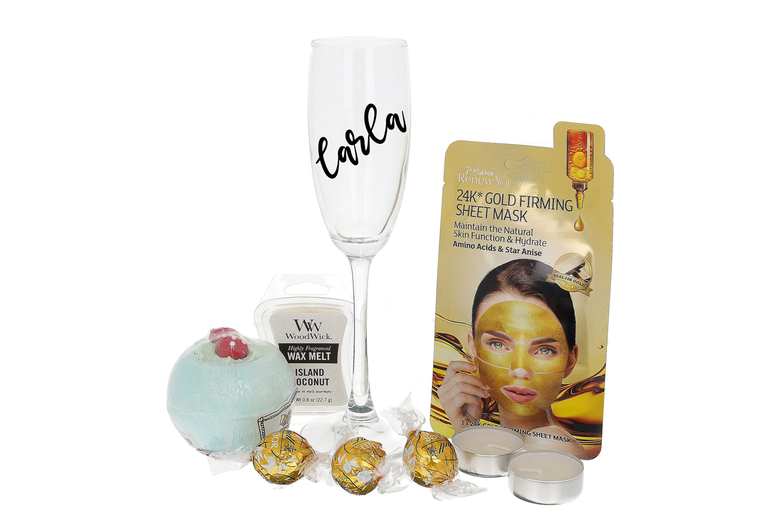 Image of £23.50 instead of £39 for a spa hamper with a personalised Prosecco Glass from Always Looking Good - save 40%