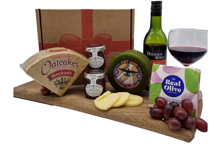Image of £19 instead of £27 for an 'I Love Cheese' Box including red wine, oatcakes, olives and more from Lymn Bank Farm Cheese Co - save 30%