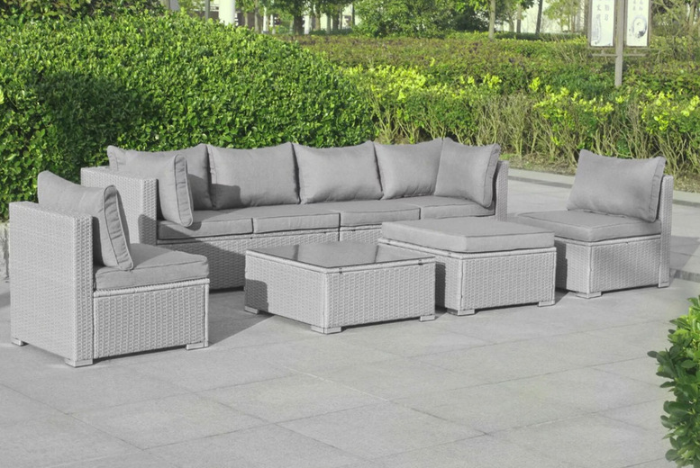 Image of £1099 instead of £1999.99 for a seven-seater Menorca polyrattan garden furniture set from Blakesleys - save 45%
