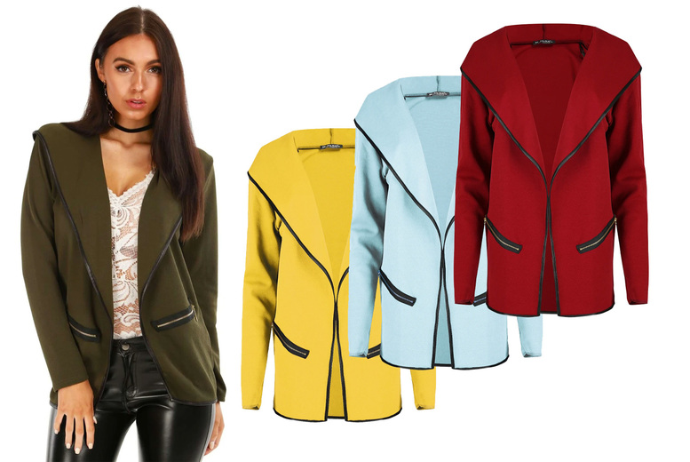 Image of £11 instead of £17 for a women's Sasha contrast piped hooded light jacket from Be Jealous – save 35%