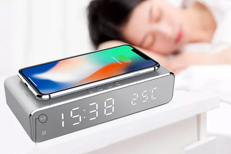 Image of £13.99 instead of £49.99 for a two-in-one alarm and wireless phone charger from Bellap - save 72%