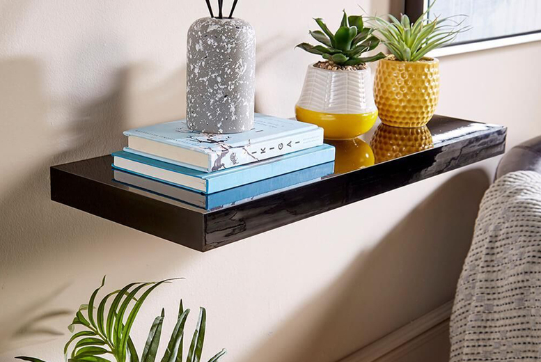 Image of £14.99 for a 60cm gloss floating shelf or £16.99 for an 80cm gloss floating shelf from Furniture Dealz!