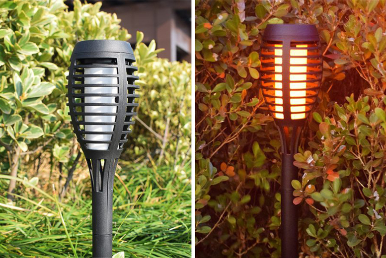 Image of £12.99 instead of £29.99 for one solar LED flame light, £22 for two from Benzbag!