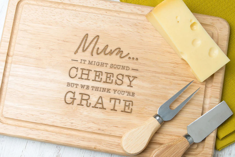 "Image of £12 for an engraved 'We Think You're Grate"" wooden cheese board for mum from Dust and Things"