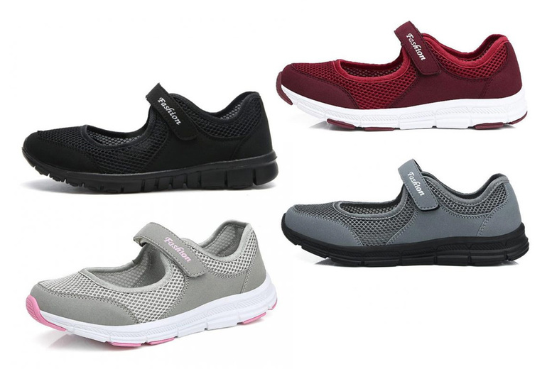 Image of £12.99 instead of £34.99 for a pair of velcro breathable trainers in a choice of white, black, dark grey, light grey and red from Huundo-p - save 63%