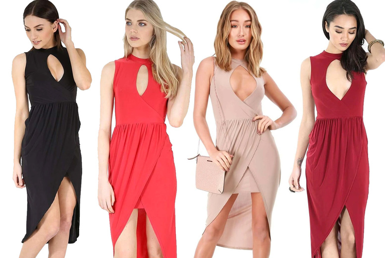 Image of £10.49 for a women's sleeveless keyhole wrap midi dress in Black, Cream, Mocha, Red or Wine in women's UK sizes 8-26 from Be Jealous!