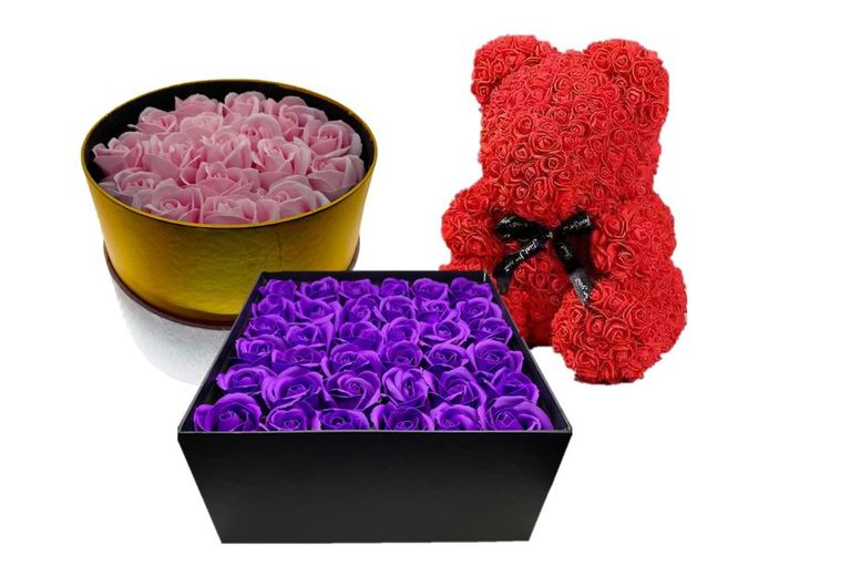 Image of From £18.99 for an Artificial Rose Bear Gift or Gift Box for Mothers Day from 5IVE LTD - save up to 75%