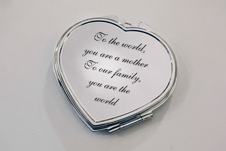 Image of £8.99 instead of £29.99 for a silver compact mirror engraved with the message of your choice from My Name Chain - Save 70%