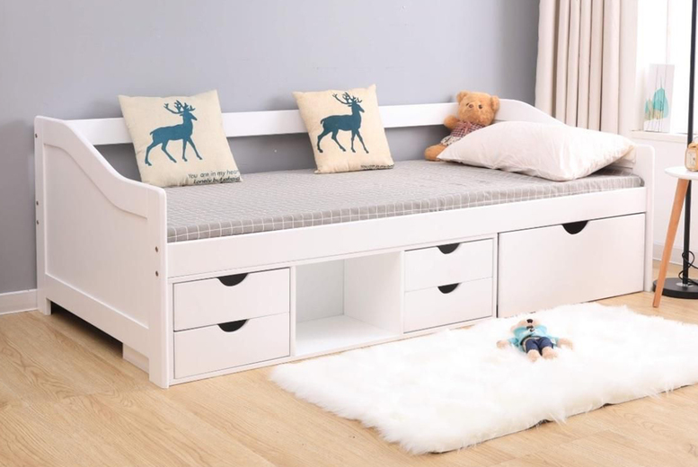 Image of £179 instead of £399 for a Naples single cabin bed in White or Grey from Furniture Dealz – save 55%