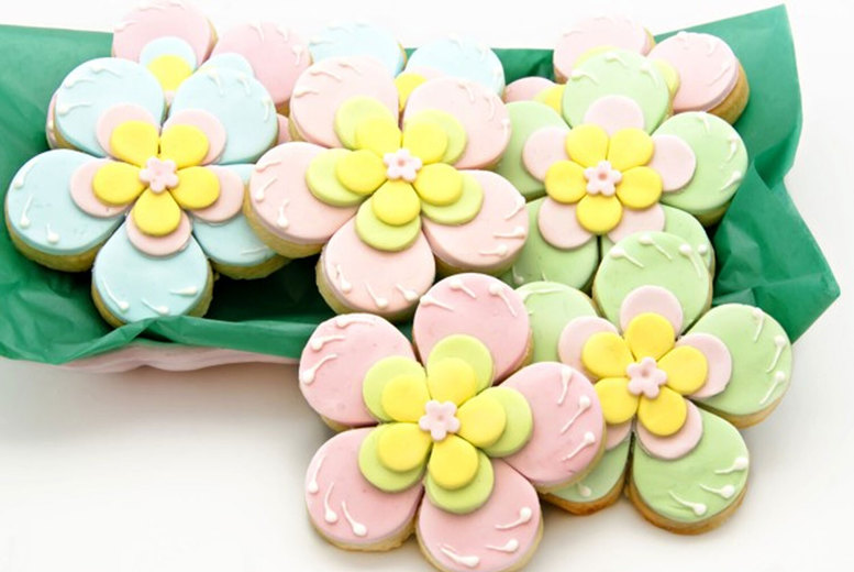Image of £7 instead of £28 for a box of 12 decorated flower cookies from Buckley's Bakery - save 75%